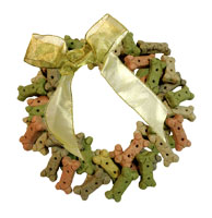 Picture: Wreath made of dog biscuits with large gold bow.